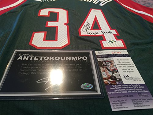 Giannis Antetokounmpo Signed Autographed Inscribed ''Greek Freak'' Jersey JSA Certified Autographed NBA Jersey by Giannis Antetokounmpo