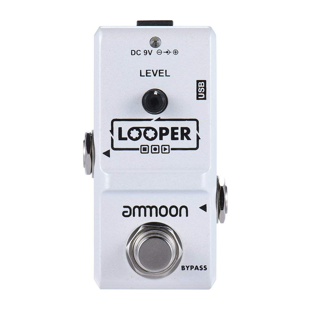 ammoon Electric Guitar Effect Pedal Looper True Bypass Unlimited Overdubs 10 Minutes Recording with USB Cable