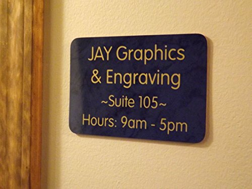 Custom Engraved 4x6 Marble Blue with Gold Lettering Door Suite Wall Sign | Name Plate | Personalized Wall Plaque | Business Doctor Law Firm Home Office Cafe Shop | Up to 4 Text Lines | Adhesive Backed by Jay Graphics