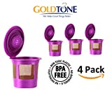 keurig permanent coffee filter - GoldTone Brand Reuable Single Serve K-Cup Filter with Golden Stainless Steel Mesh - Fits Keurig 1.0 and 2.0 Coffee Machines and Brewers - BPA Free [4 PACK]