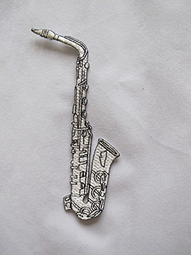 Silver Saxophone Embroidery Iron On Applique Patch #2376LS by ade_patch