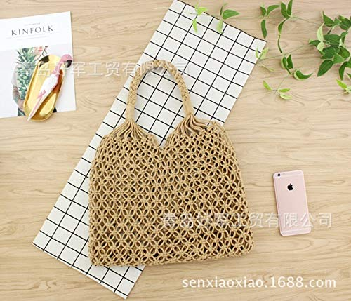 (35X32cm Copper Buckle Handmade Cotton Thread Hand Hand Mesh Hollow Unlined Straw Bag Casual Woven Bag A5306 (Khaki))