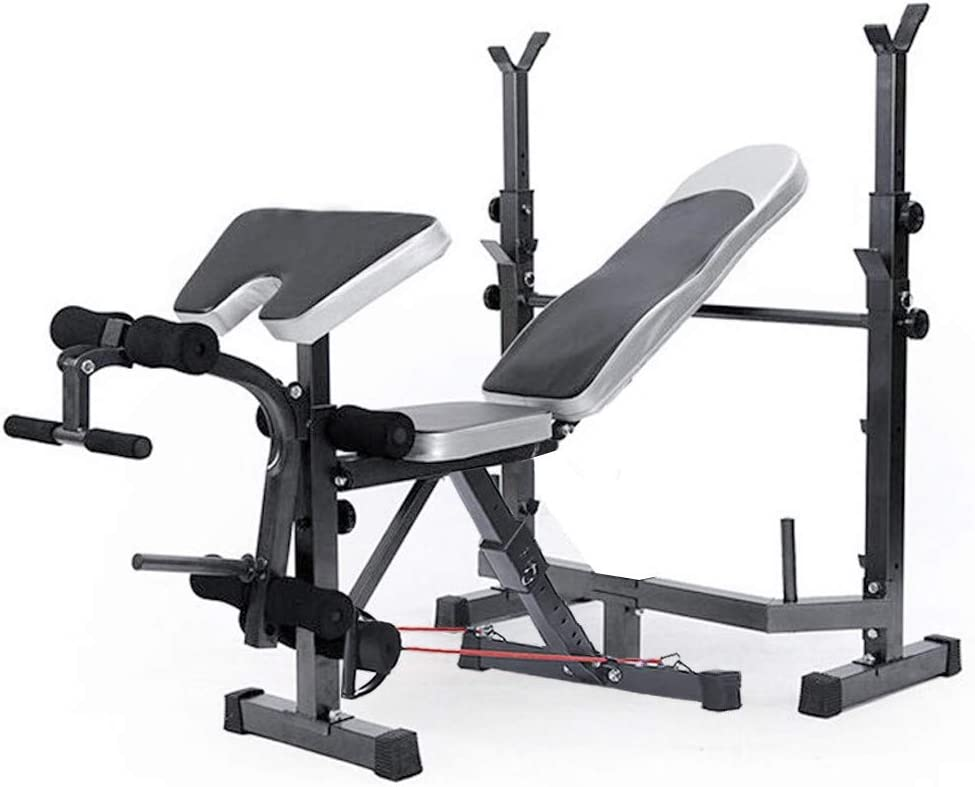 Tengma Adjustable Olympic Weight Bench,Weight Lift Bench Rack,Barbell Dumbbell Bench,Push Up Back Sit Up Bench w//Leg Developer and Squat Rack Strength Training Bench for Full-Body Workout