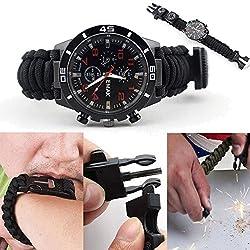Coohole New Multifunctional Watch Outdoor Survival Watch Bracelet Paracord Compass Flint Fire Starter Whistle (Black)