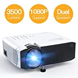 Projector, APEMAN Mini Portable 3500L Video Projector LED with Dual Speakers 45000 Hours Support HD 1080P HDMI/VGA/TF/AV/USB, Laptop/TV Box/Phone/PS4 for Home Theater Entertainment [No Noise Version]: more info