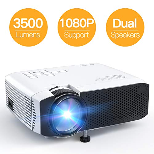 Projector, APEMAN Mini Portable 3500L Video Projector LED with Dual Speakers 45000 Hours Support HD 1080P HDMI/VGA/TF/AV/USB, Laptop/TV Box/Phone/PS4 for Home Theater Entertainment [No Noise Version] (Best Travel Projector 2019)