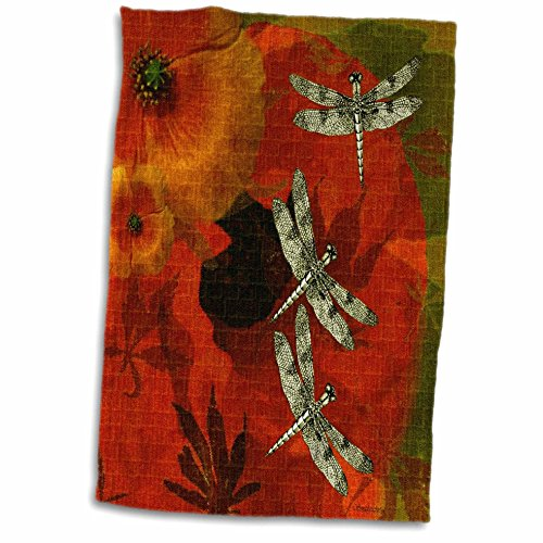 3D Rose Poppies and Dragonflies Hand Towel, 15