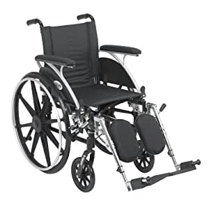Drive Medical Viper Wheelchair with Various Flip Back Desk Arm Styles and Front Rigging Options, Black, 16""