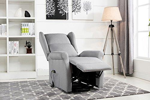 Power Recliner Chair, Lift Chairs, Linen Living Room Reclining Armchair (Light Grey)