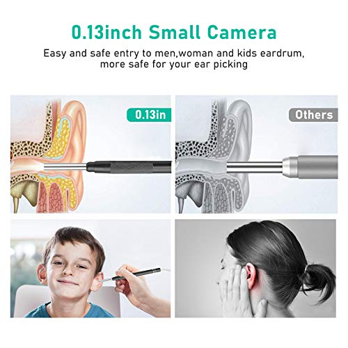 3.5mm USB Otoscope Ear Scope Camera - WETDCQ Waterproof HD Visual Ear Endoscope Ear Camera with Earwax Cleaning Tool, 6 Adjustable LED Lights and 3-in-1 Connector for Android and Windows