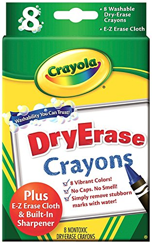 Crayola; Dry-Erase Crayons; Art Tools; 8 Count; Washable; Perfect for