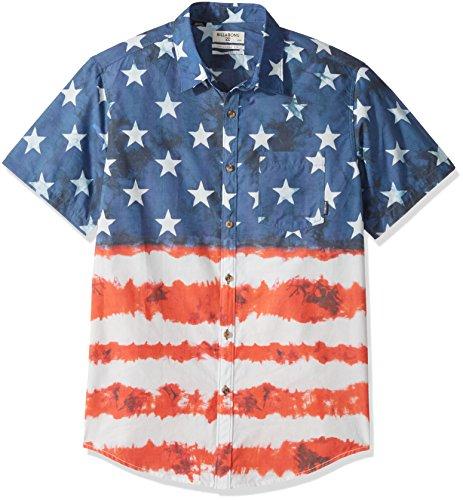 (Billabong Men's Printed Woven Shirts, Navy Red/White Medium)