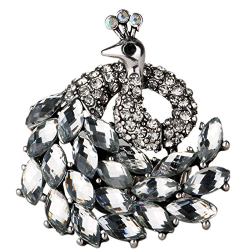YACQ Jewelry Women's Crystal Peacock Stretch Rings Scarf Ring Buckle Clip Women