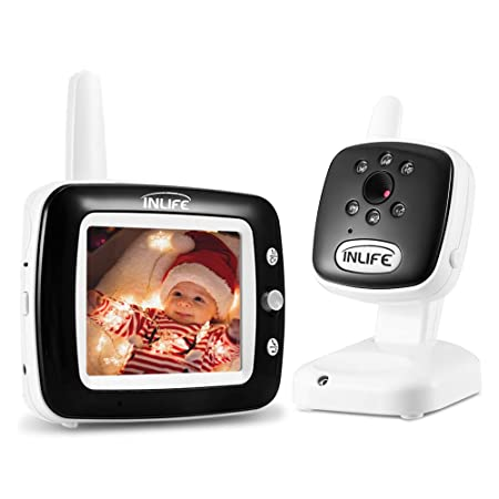 INLIFE Digital Video Baby Monitor with Wireless Camera, 3.5 LCD Screen, Night Vision Light Lullaby Alarm, Two-Way Audio, Temperature Detection, Eco Mode, Long Range, Monitor Your Baby All Day