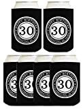 30th Birthday Gift Celebrating 30 Years 6 Pack Can Coolies Drink Coolers Black
