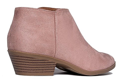 Block Bootie Women's Mauve Heel Ankle Western Low Suede w Soda Chunky Stacked Faux q0FtWnaF