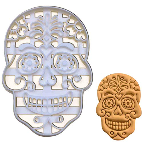 Floral Skull Day of the Dead cookie cutter, 1 piece - -