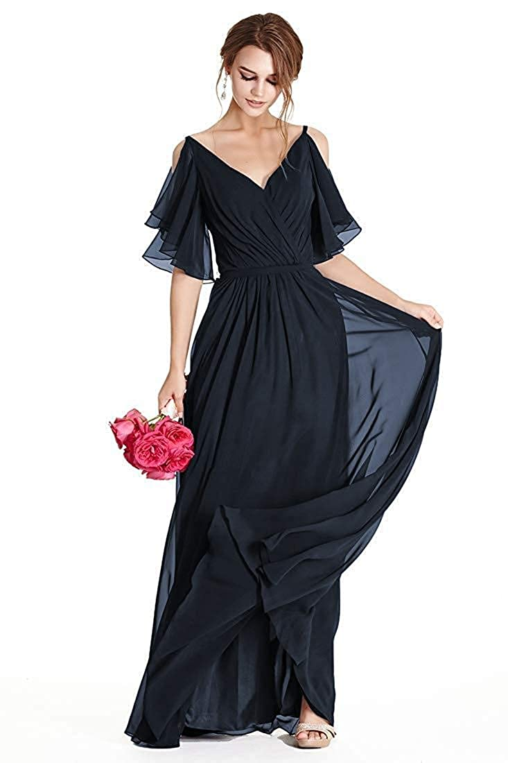 Womens A-Line V Neck Long Flutter Sleeve Bridesmaid Dress Long Evening Party Gown