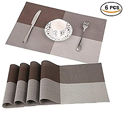 ORPIO (LABLE) PVC Placemat Non-Slip Plastic Table Mat Water-Proof Dining Table Place Mats, Brown (45 X 30 cm)