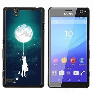 Muchacho del globo Niños Madre Noche- Metal de aluminio y de plástico duro Caja del teléfono - Negro - Sony Xperia C4 E5303 E5306 E5353