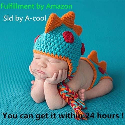(A-cool Crocheted Baby Boy Dinosaur Outfit Newborn Photography Props Handmade Knitted Photo Prop Infant accessories (1-12)