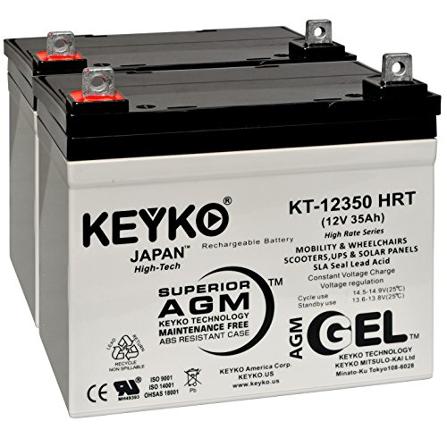 Dual-Lite 12-779 12V 35Ah Battery-Fresh & REAL 35.0 Amp - Deep Cycle AGM/SLA Seal Lead Acid Designed for Lighting - Genuine KEYKO KT-12350 HRT - Nut & Bolt L2 Terminal ()
