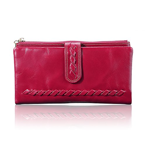 Women Fashion Leather Purse Lady's Card Holder Luxury Clutch Long Wallets Red