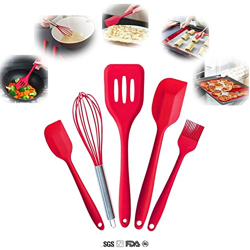 Cooking Tool Set - ELEFOCUS Premium Heat Resistant Silicone Baking Utensil Set - Set of 5 & Red - Baking Days Red Dinnerware
