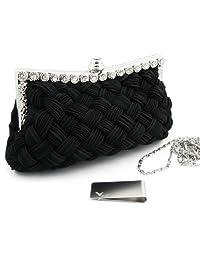 Missy K Interwoven Clutch Purse, with 2 Detachable Straps - Black + kilofly Money Clip