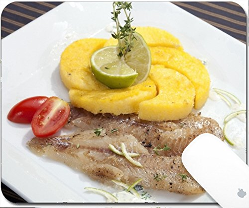 pad 9.25in X 7.25in IMAGE: 23837899 Grilled codfish with baked corn polenta and lemon skin slices (Fried Cod Fillets)