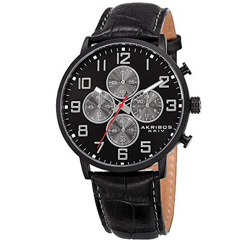 (Akribos XXIV Essential Mens Casual Watch - Sunburst Effect Dial - Chronograph Quartz - Leather Strap - Black)
