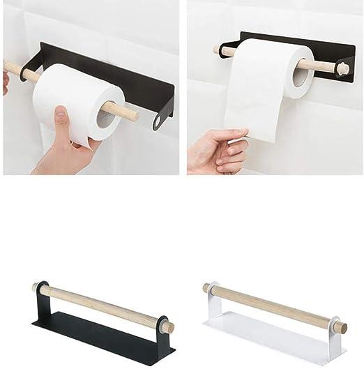 LINWX Cucina Bagno Stoccaggio Utensili da Cucina Pratici Portasciugamani di Carta Adesivo sotto Il Mobile Bianco