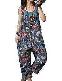 P91 Women Strap Rompers Jumpsuits Denim Casual Bib Pants 100% Cotton Embroidery Distressed Boyfriend Wide Leg