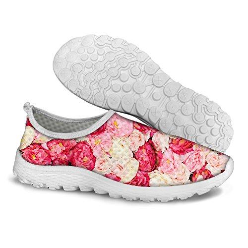 For U Design Søt Blomstermønster Kvinners Uformelle Mesh Komfort Går Joggesko Pink
