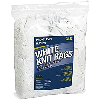 Pro-Clean Basics White T-Shirt Cloth Rags: 3 lb. Bag