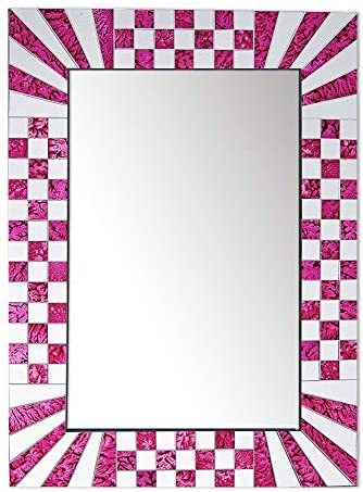 DecorShore South Beach Collection 24 x 18 Art Deco Style Decorative Wall Mirrors with Colorful Glass Mosaic Tiles