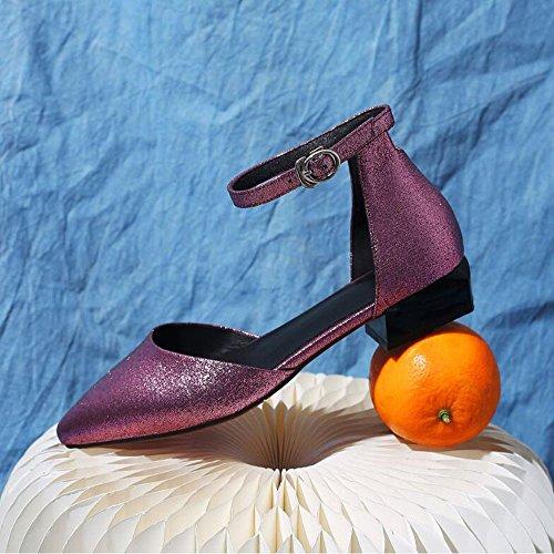 Dimensioni Cava da Fibbia Rosa 41 Sandali Quattro Stagioni Pelle Scarpe Vera Piatti Scarpe Donna da Colore Punta f0AnZBA