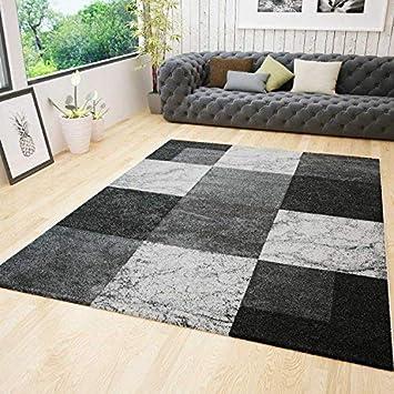VIMODA Wohnzimmer Teppich Modern Design Kurzflor Kariert Schwarz Grau Weiss  Meliert Konturenschnitt, Maße:200x290 cm