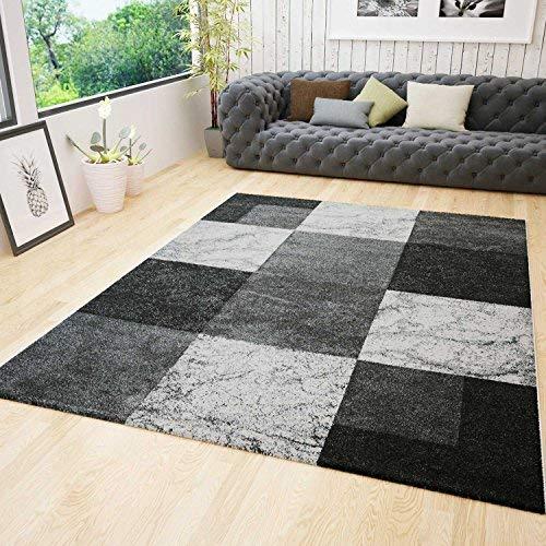 VIMODA Wohnzimmer Teppich Modern Schwarz Rot Grau Marmor Stein Optik Velours, Maße 120x170 cm B06XBJW7TL Teppiche