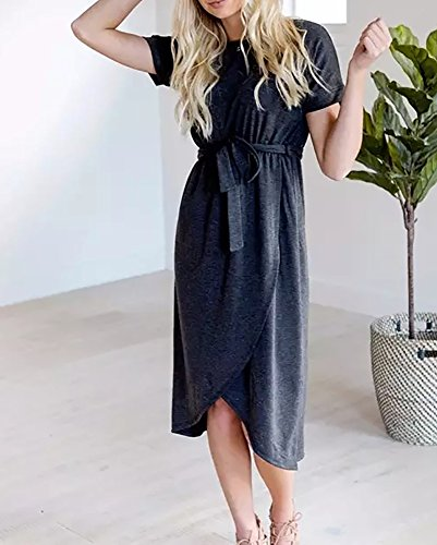 Dress Midi with Summer Dark Bela Imily and Fit Sleeve Womens Gray Short Beach Flare Shirt Belt xqHFw7XPH