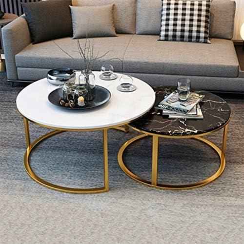 Bestseller LAMXF woonkamertafel rond metaal luxe salontafel salontafel bijzettafel - woonkamer slaapkamer kantoor rond natuurlijk marmer werkblad sofa bijzettafel smeedijzer onderstel 8sz2hSn