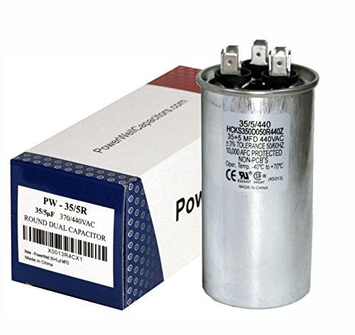 D 370 or 440 Volt Dual Run Round Capacitor Kit TP-CAP-35/5/440R Condenser Straight Cool/Heat Pump Air Conditioner and Zip Tie ()