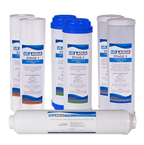 US Aqua Platinum Series 1-Year Filter Replacement Set For Standard Under Sink 5-Stage Reverse Osmosis Water Filtration Systems by US Aqua