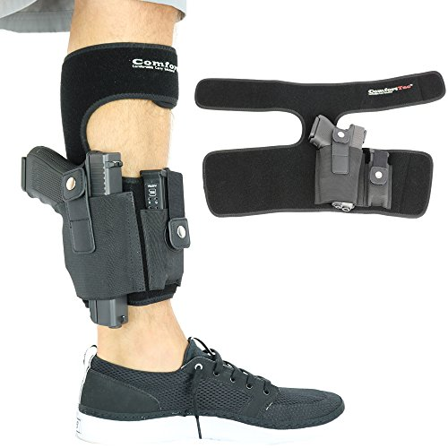 ComfortTac Ankle Holster With Calf Strap and Spare Magazine Pouch For Concealed Carry | One Size Fits All | Fit Glock 19, 42, 43, 36, 26, S&W Bodyguard, M&P Shield, Ruger LCP, LC9, And Similar Gun