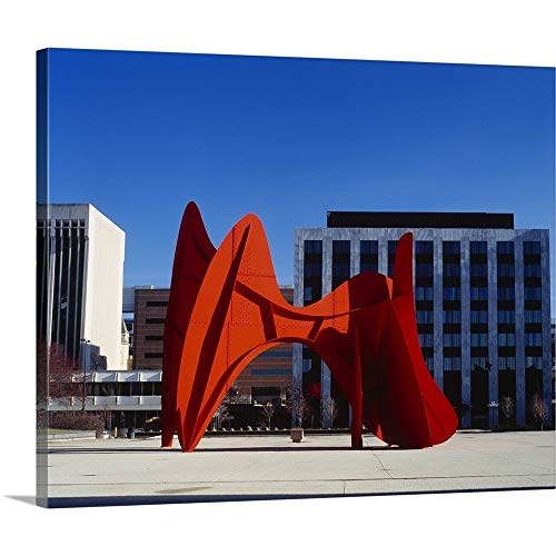 Alexander Calder Sculpture - GREATBIGCANVAS Gallery-Wrapped Canvas Entitled Sculpture in Front of a Building, Alexander Calder Sculpture, Grand Rapids, Michigan by 14