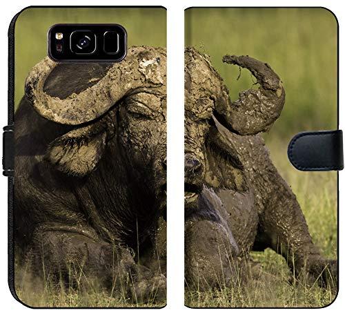 Liili Premium Samsung Galaxy S8 Flip Micro Fabric Wallet Case African Cape Buffalo Photo 20215705 ()