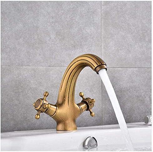 Zxyan 蛇口 立体水栓 バスルームのシンクは、スロット付き浴室の洗面台のシンクホットコールドタップミキサー流域の真鍮シンクミキサータップ非震とうすべての銅ホット&コールド流域のアンティーク蛇口流域の蛇口キッチン蛇口タップ トイレ/キッチン用