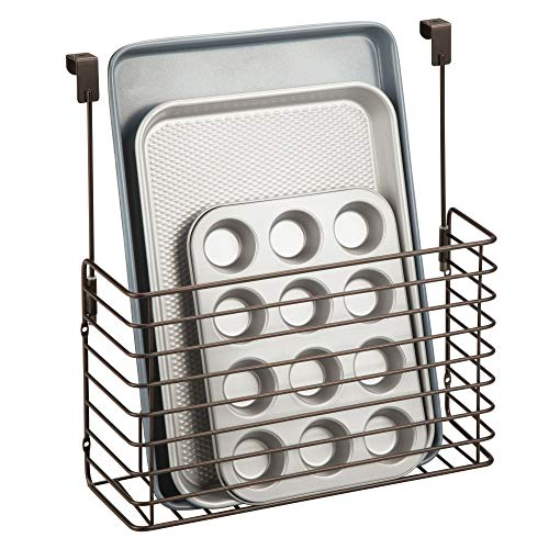- mDesign Metal Over Cabinet Kitchen Storage Organizer Holder or Basket - Hang Over Cabinet Doors in Kitchen/Pantry - Holds Bakeware, Cookbook, Cleaning Supplies - Steel Wire in Bronze