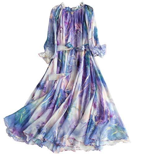 Medeshe Women's Long Sleeve Floral Holiday Beach Bridesmaid Maxi Dress ()