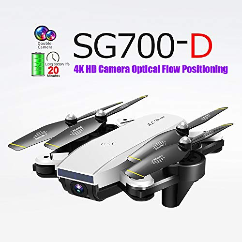 Guo Nuoen SG700-D 2.4Ghz 4CH Wide-Angle WiFi 4K HD Dual Camera Optical Flow RC Quadcopter Drone Hover (White)
